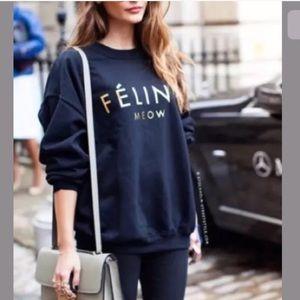 b346fa53969 Brian Lichtenberg Black Gold Feline Sweatshirt